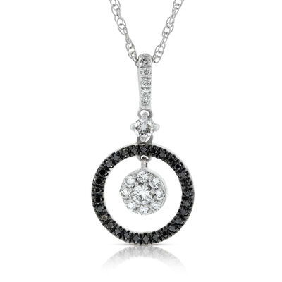 Black & White Diamond Circle Pendant 14K