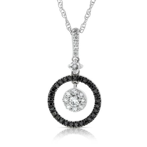 Black & White Diamond Circle Pendant 14K