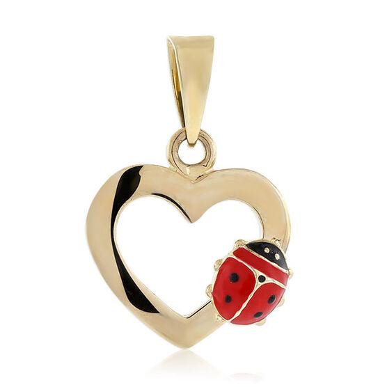 Ladybug Heart Charm / Pendant 14K