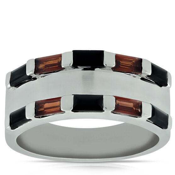 Lisa Bridge Garnet &  Black Onyx Wide Band