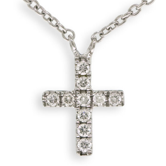 Tiny Cross Diamond Necklace 14K