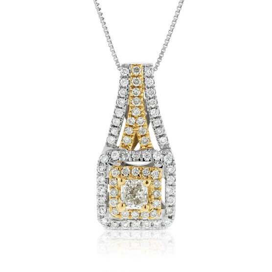 Yellow & White Diamond Pendant 14K