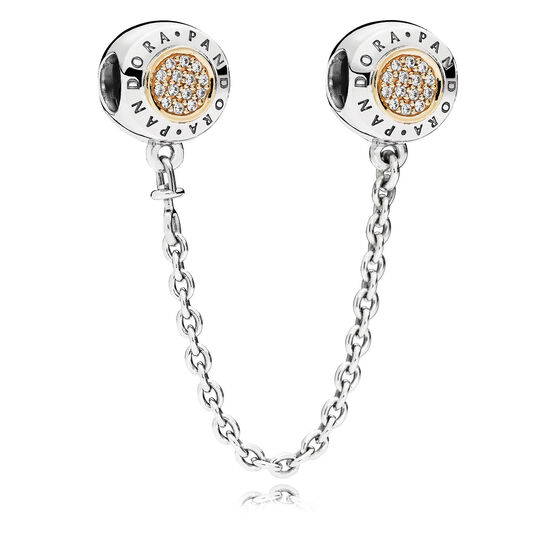 PANDORA CZ Signature Safety Chain, Silver & 14K