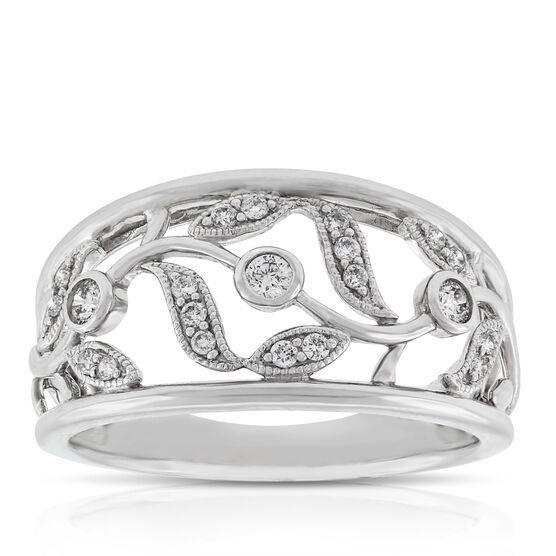 Vine and Leaf Diamond Ring 14K
