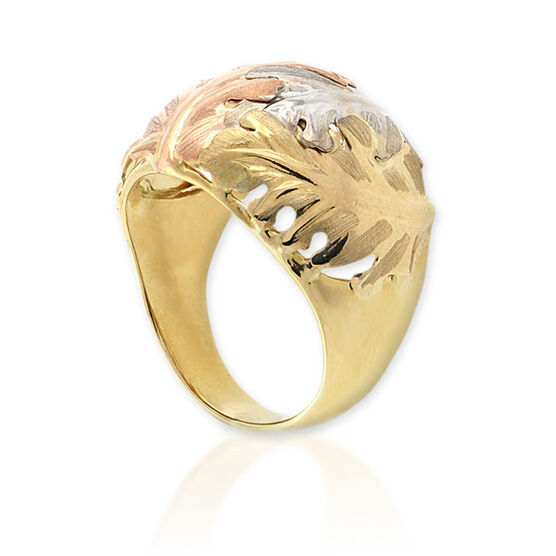 Tri Color Leaf Ring 14K