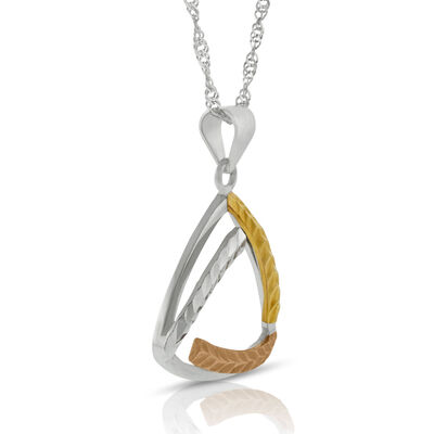 Tri-Color Triangle Pendant 14K