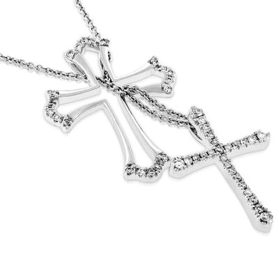 Two-Piece Diamond Cross Pendant 14K