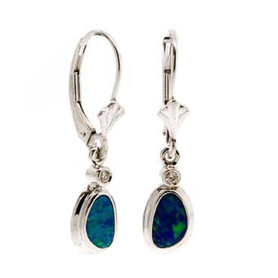 Opal Doublet & Diamond Earrings 14K