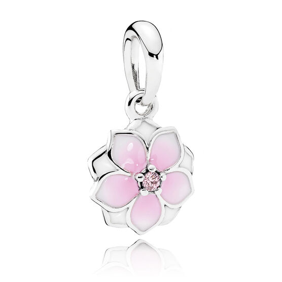 PANDORA Magnolia Bloom Enamel & CZ Dangle Charm