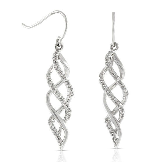 Diamond Spiral Earrings 14K