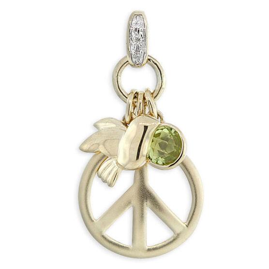 Peridot & Diamond Peace Pendant / Charm 14K