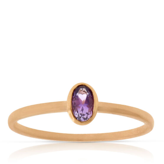 Rose Gold Amethyst Ring 14K