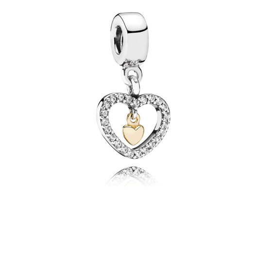 Pandora Forever In My Heart Charm  Sterling  U0026 14k