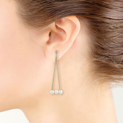 Rose Gold Cultured Pearl & Diamond Swing Earrings 14K