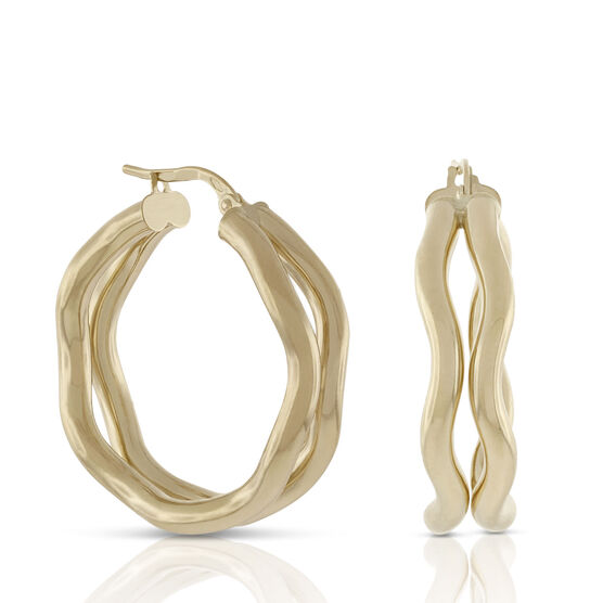 Toscano Double Wavy Hoop Earrings 18K