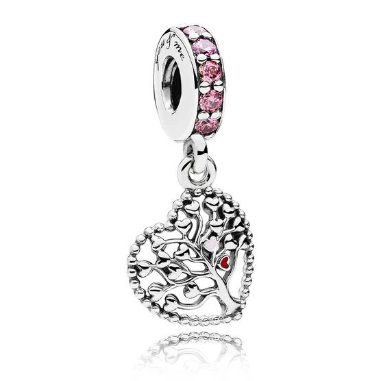 PANDORA Tree of Love Enamel & CZ Dangle Charm