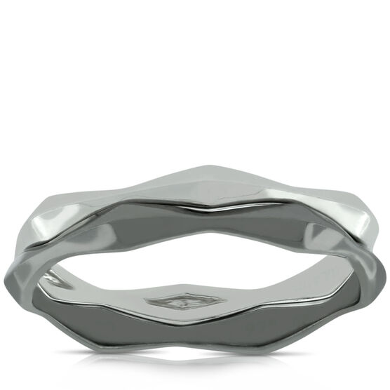 Lisa Bridge Silver & Black Rhodium Ring Set