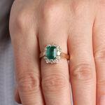 Emerald & Diamond Halo Ring 14K