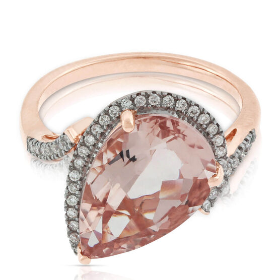 Pear Morganite & Diamond Ring 14K