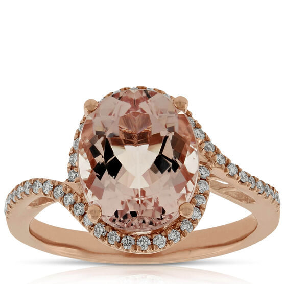 Morganite & Diamond Ring 14K Rose