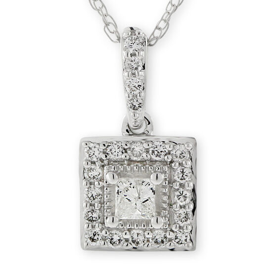 Diamond Square Pendant 14K