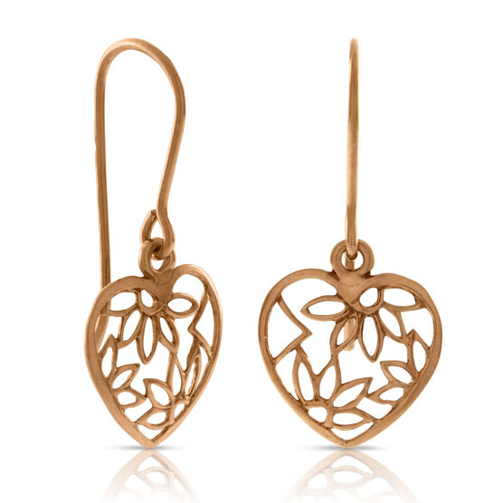 Heart Dangle Earrings 14K Rose
