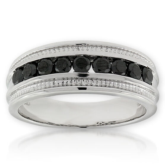 Men's Black Diamond Band 14K