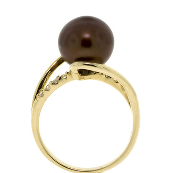 "Dyed Freshwater Cultured Pearl & Diamond Ring 14K ""SPECIAL OFFER"""