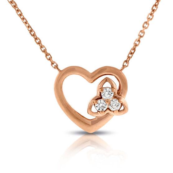 Rose Gold Diamond Heart Necklace 14K