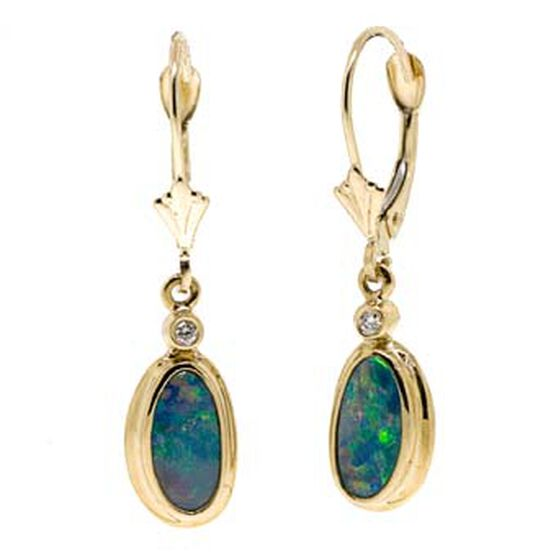 Opal Doublet & Diamond Earrings 14K