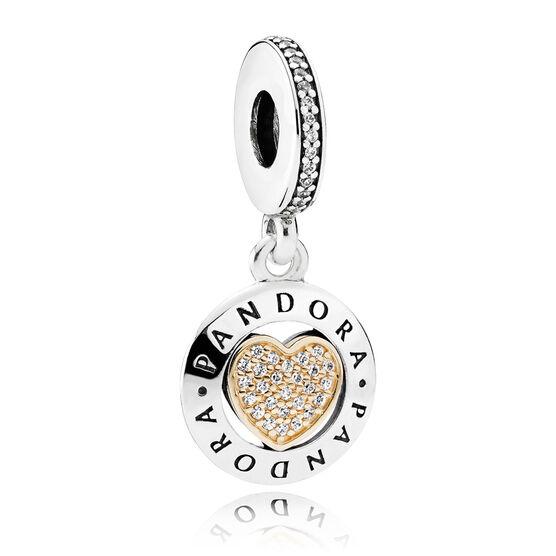 PANDORA Signature CZ Heart Charm, Silver & 14K