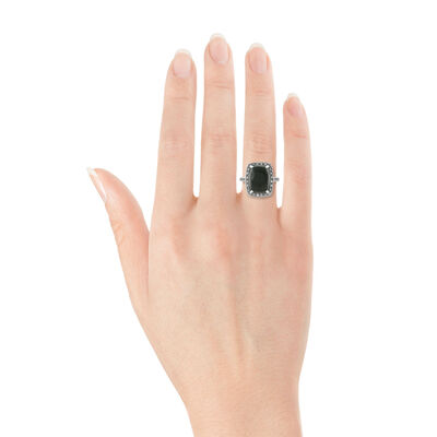 Cabochon Onyx & White Sapphire Ring 14K