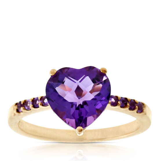 Rose Gold Amethyst Heart Ring 14K