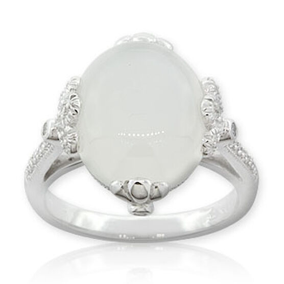 Moonstone & Diamond Ring 14K