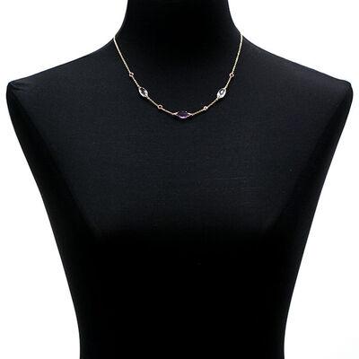 Amethyst, Quartz & Garnet Necklace 14K
