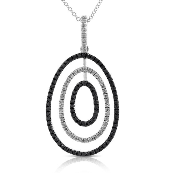 Black & White Diamond Pendant 14K