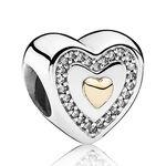 PANDORA Always in My Heart Charm, Silver & 14K