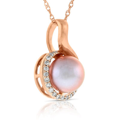 Rose Gold Cultured Pearl & Diamond Pendant 14K
