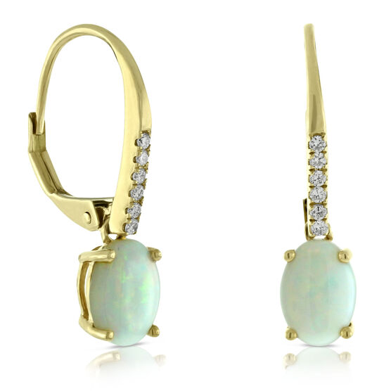 Opal & Diamond Dangle Earrings 14K