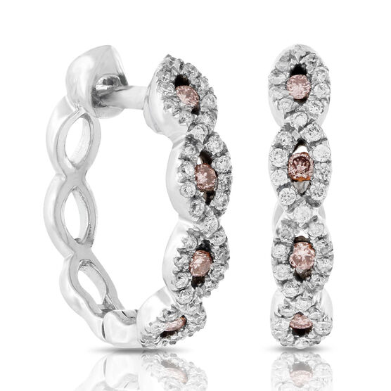 Pink & White Diamond Hoop Earrings 14K