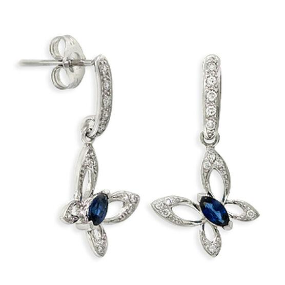 Butterfly Sapphire & Diamond Earrings 14K