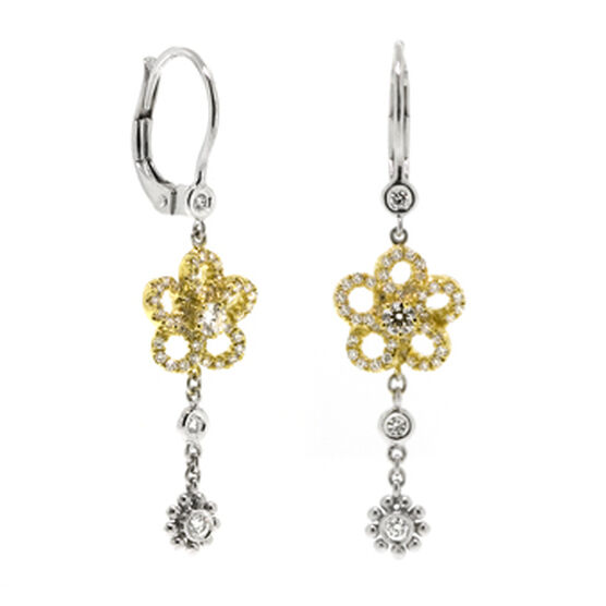 Diamond Flower Dangle Earrings 14K