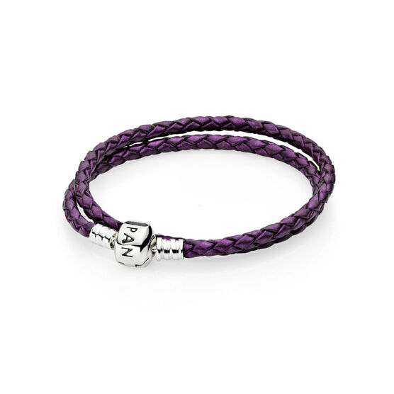 PANDORA Purple Leather Clasp Bracelet