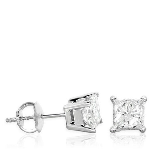 Princess Cut Diamond Earrings 14K, 1 ctw.