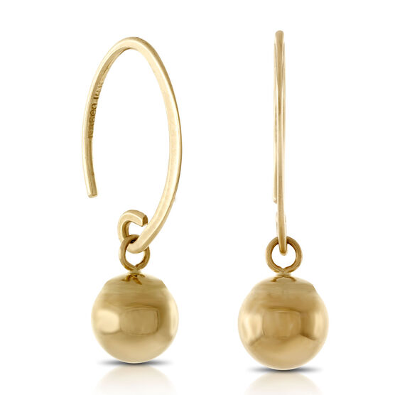 Gold Drop Dangle Earrings 14K