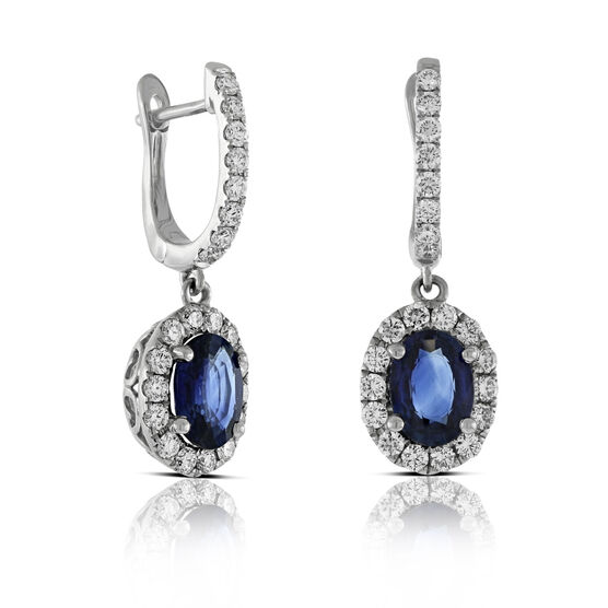 Diamond & Sapphire Dangle Earrings 14K