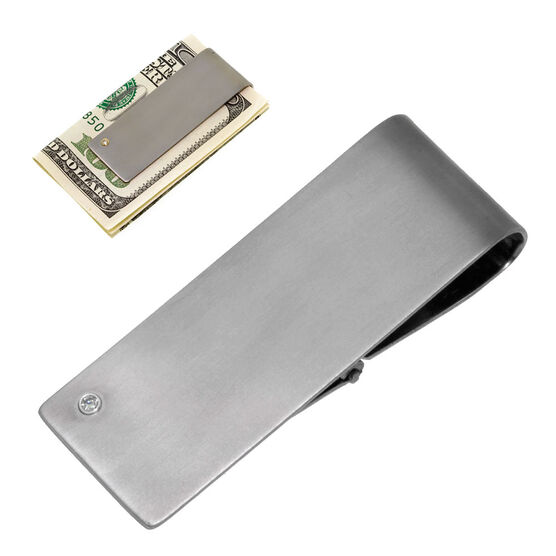 Diamond Money Clip in Titanium
