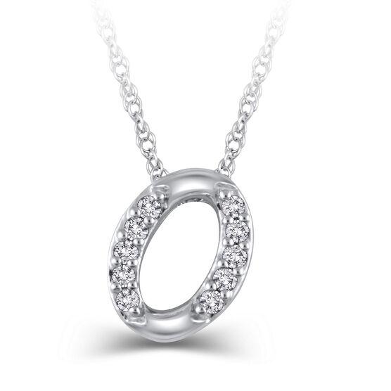 "Diamond ""O"" Initial Pendant 14K"