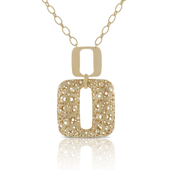 Toscano Collection Open Geometric Drop Necklace 18K