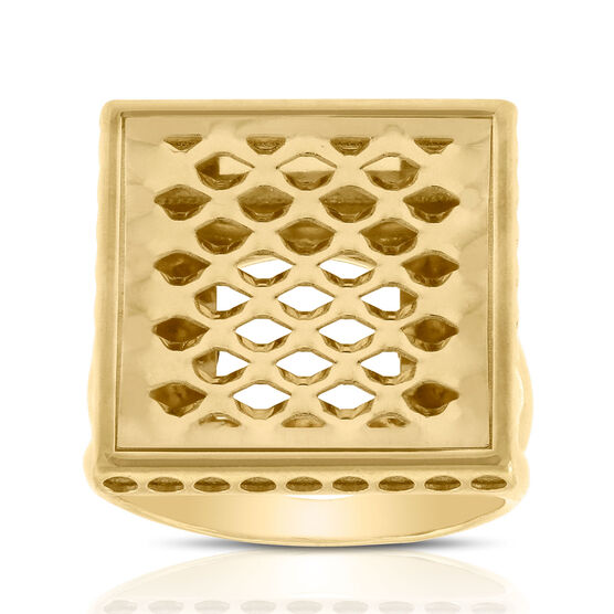 Toscano Pierced Square Cocktail Ring